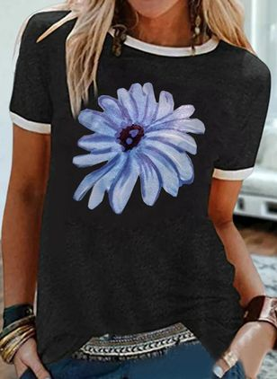 Floral Round Neck Short Sleeve Casual T-shirts (4049015)