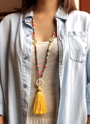 Boho Tassel No Stone Pendant Necklaces (120295261)