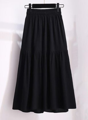 Solid Maxi Casual Skirts (146994248)