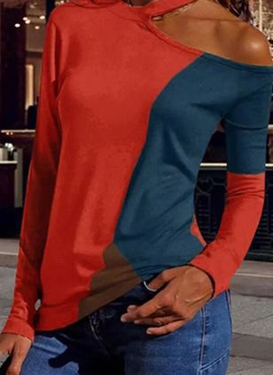 Color Block Round Neck Long Sleeve Casual T-shirts (106704127)