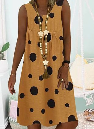 Casual Polka Dot Tunic Round Neckline A-line Dress (4355662)