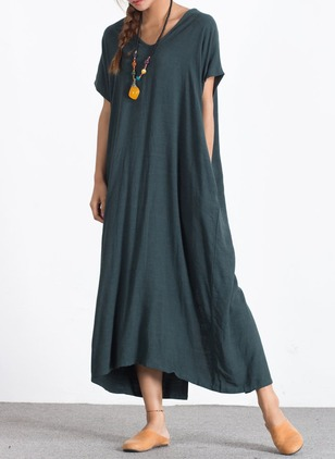 Cotton Linen Solid Short Sleeve Maxi Dresses