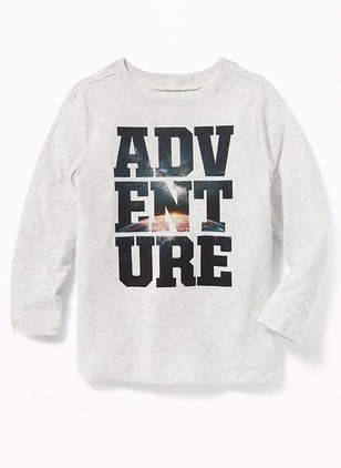 Boys' Alphabet Round Neckline Long Sleeve Tops