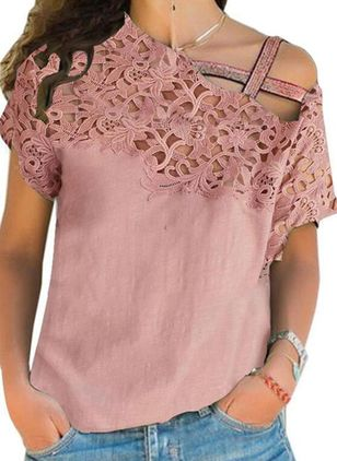 Solid Casual Oblique Neckline Short Sleeve Blouses (4348019)