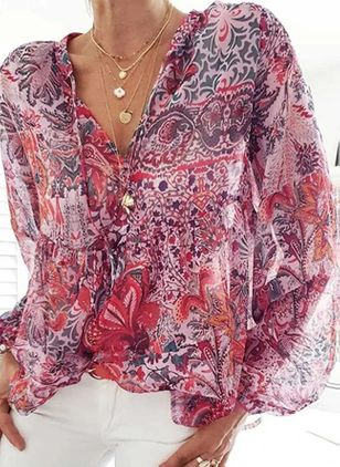 Floral Casual V-Neckline Long Sleeve Blouses (146783978)