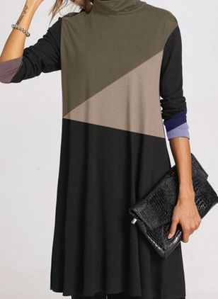 Elegant Color Block Tunic High Neckline A-line Dress (108858026)