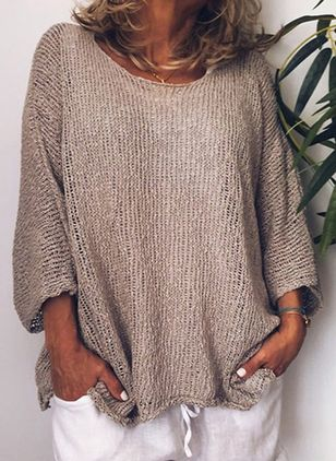 Round Neckline Solid Casual Loose Shift Sweaters (1349329)