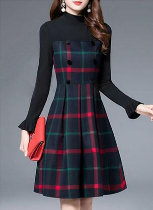 Plaid Buttons Skater Knee-Length A-line Dress