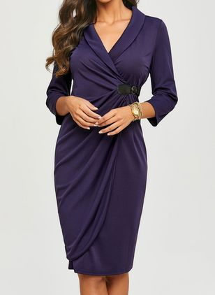 Solid V-Neckline 3/4 Sleeves Knee-Length A-line Dress (1153000)