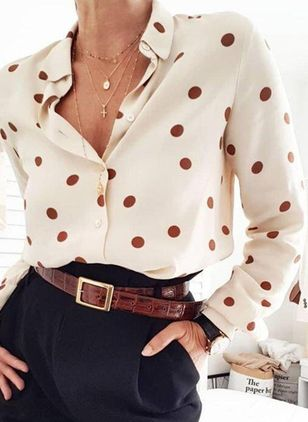 Polka Dot Elegant Collar Long Sleeve Blouses (4126903)