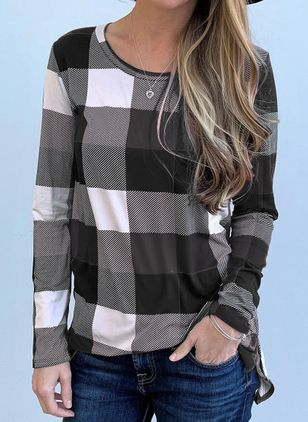 Tartan Round Neck Long Sleeve Casual T-shirts (109555740)