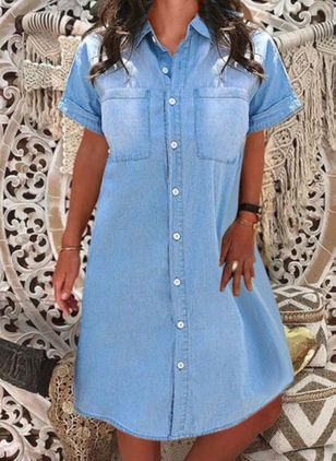 Casual Solid Tunic Collar Shift Dress (4074145)