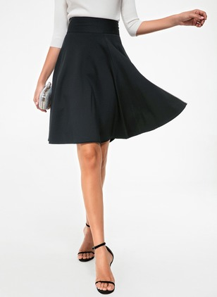 Cotton Solid Knee-Length Casual Zipper Skirts