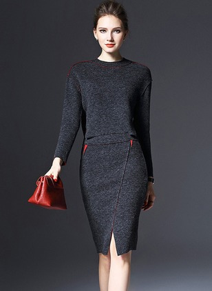 Color Block Pencil Long Sleeve Knee-Length Sheath Dress