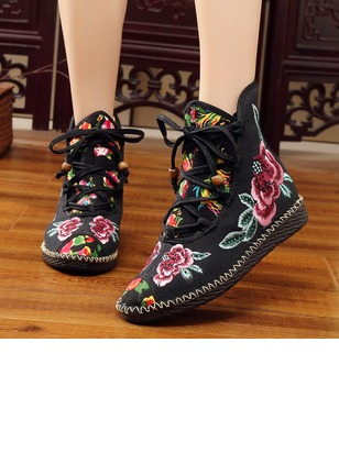 Lace-up High Top Flat Heel Shoes