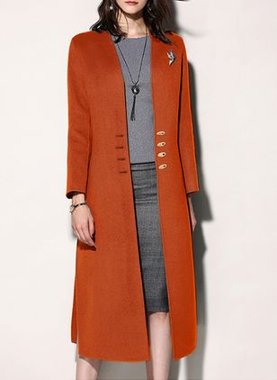 Long Sleeve Collarless Buttons Coats (122030632)