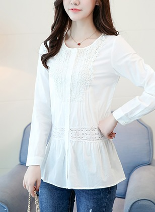 Solid Casual Polyester Round Neckline 3/4 Sleeves Blouses