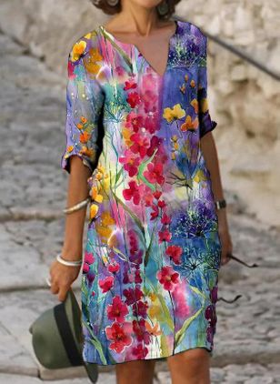 Casual Floral Tunic V-Neckline A-line Dress (147018983)