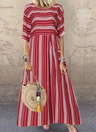 Casual Stripe Tunic Round Neckline A-line Dress (100001957)