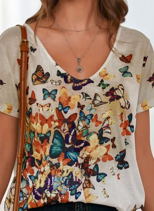 Animal Casual V-Neckline Short Sleeve Blouses (4073997)
