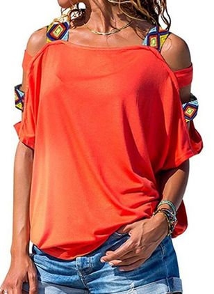 Solid Casual Round Neckline Short Sleeve Blouses (1505550)