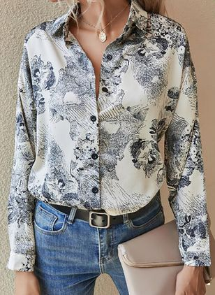 Floral Casual Collar Long Sleeve Blouses (146679085)