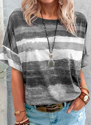Color Block Round Neck Half Sleeve Casual T-shirts (147157650)