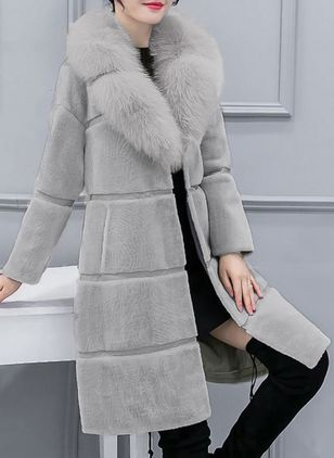 Long Sleeve Lapel Pockets Unremovable Fur Collar Coats