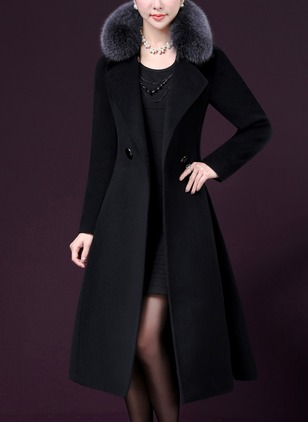 Long Sleeve Collar Sashes Buttons Unremovable Fur Collar Wrap Coats