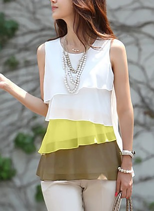 Color Block Casual Chiffon Round Neckline Sleeveless Blouses