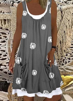 Casual Floral Tunic Round Neckline Shift Dress (147059484)