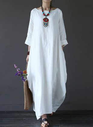 Solid Long Sleeve Maxi O Dress