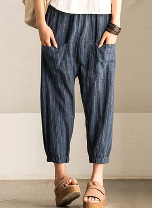 Casual Straight Pockets Mid Waist Cotton Blends Pants (1357384)