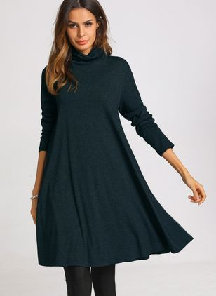Casual Solid Long Sleeve Knee-Length Dress (1143602)