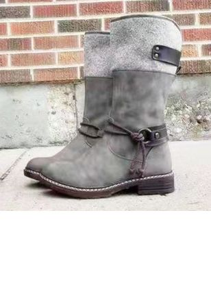 Women's Buckle Mid-Calf Boots Nubuck Low Heel Boots