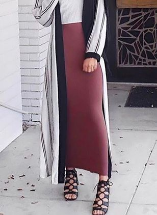 Solid Maxi Elegant None Skirts