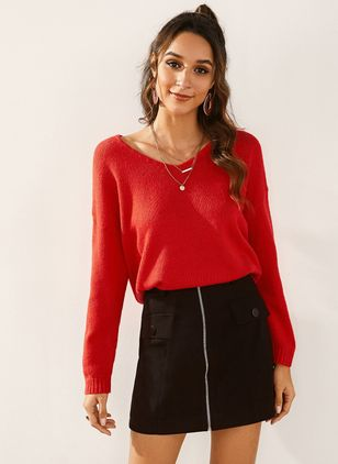 V-Neckline Solid Casual Loose Regular Shift Sweaters (1396582)
