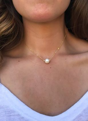 Basic Ball Pearls Pendant Necklaces (4663269)