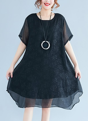 Chiffon Short Sleeve Knee-Length Shift Dress