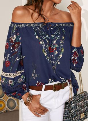 Floral Sexy Off the Shoulder Long Sleeve Blouses (1538823)