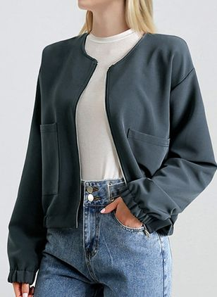 Long Sleeve Round Neck Zipper Pockets Jackets (4448426)