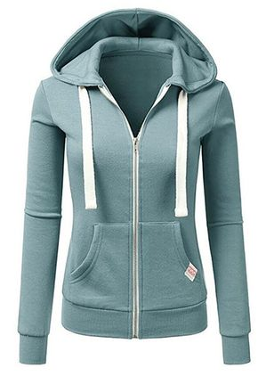 Solid Sporty Hooded Pockets Zipper Sweatshirts