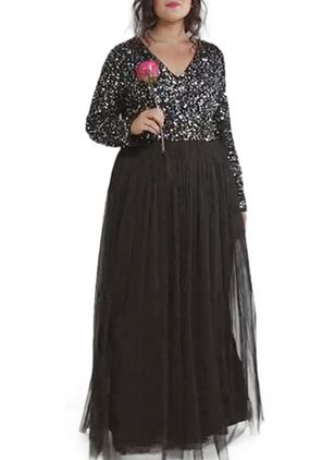 Plus Size Color Block Sequins Long Sleeve Maxi X-line Dress (1291774)