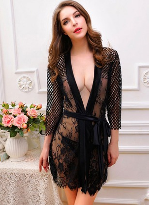 Lace Plain Hollow Out Sashes Sleepwear