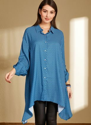Plus Size Polka Dot Collar Casual Shift Blouses Long Sleeve Plus Blouses (1369039)