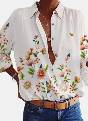 Floral Casual Collar Long Sleeve Blouses (146662489)
