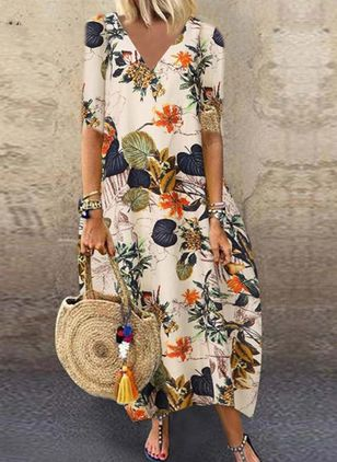 Casual Floral Shirt Round Neckline A-line Dress (4355823)