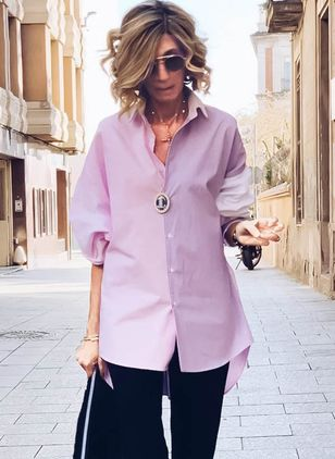 Solid Casual Collar 3/4 Sleeves Blouses