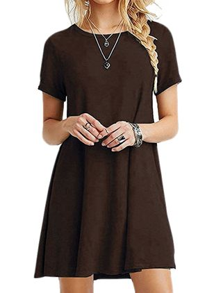 Casual Solid Tunic Round Neckline A-line Dress (1520906)