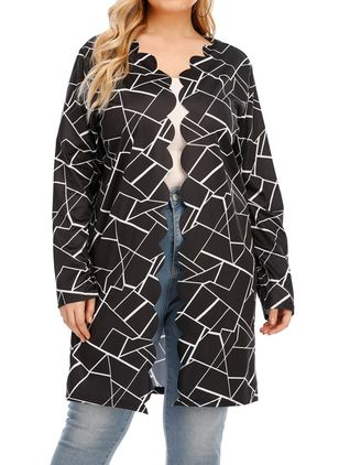 Plus Size Long Sleeve Collarless Coats (100321245)